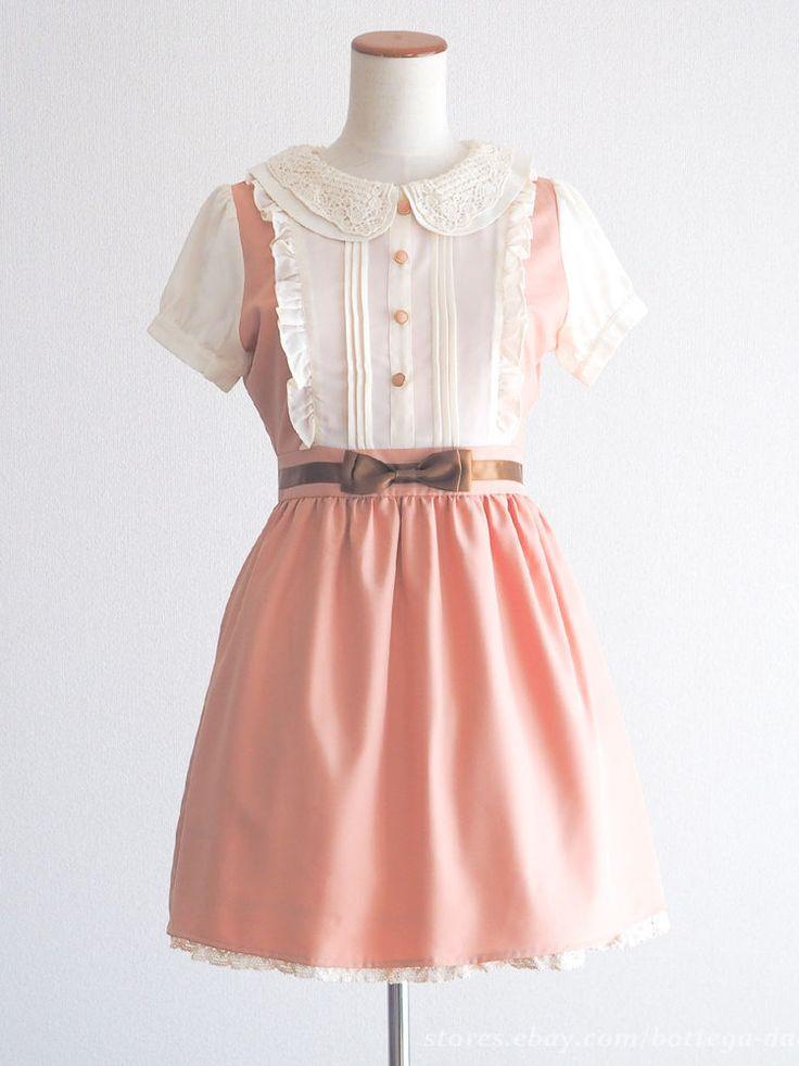 Wonder Rocket Hrajuku J-fashion Ribbon OP Dress Pink Preppy Lolita Japan #WonderRocket #Peplum #Casual