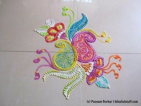 Beautiful free hand rangoli design | Rangoli by Poonam Borkar - YouTube