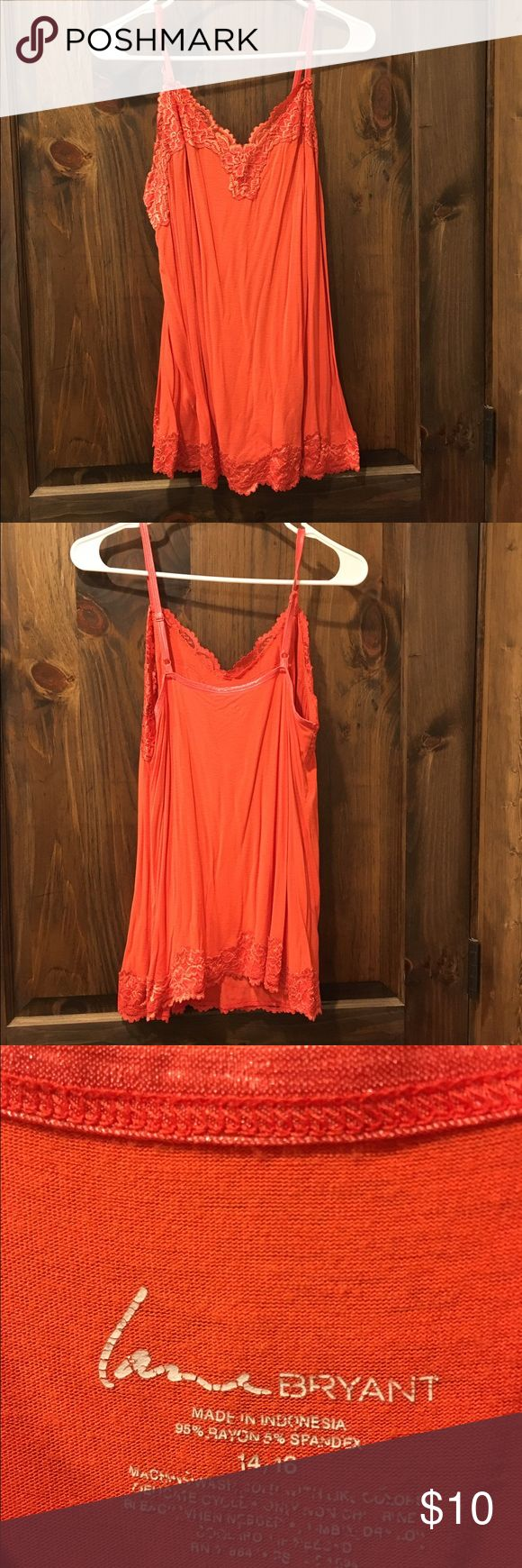 Lane Bryant Orange Cami Lane Bryant Orange Cami with lace detail and adjustable straps Lane Bryant Tops Camisoles