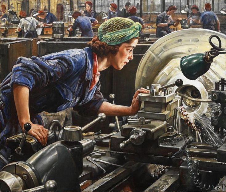 """Laura Knight, """"Ruby Loftus Screwing a Breech-ring,"""" 1943. This painting depicts """"outstanding factory worker"""" Ruby Loftus at her lathe in the Royal Ordnance Factory in Newport, South Wales. Official war artist Dame Laura Knight spent four weeks in the factory sketching Ruby Loftus at work. The portrait captures the intense concentration and poise of her subject. The technical accuracy of the industrial setting was also widely praised."""""""
