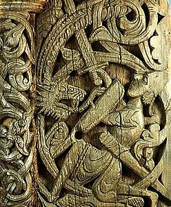 As the Viking Age came to a close, Romanesque influences from Continental Europe began to heavily influence Scandinavian art. While a number of Viking Age motifs and stylistic elements persisted a surprisingly long time, the Romanesque winged dragon, scrolls and leaf-work became dominant in designs.