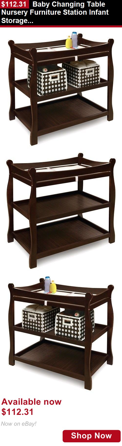 Changing Tables: Baby Changing Table Nursery Furniture Station Infant Storage Diaper Espresso Pad BUY IT NOW ONLY: $112.31