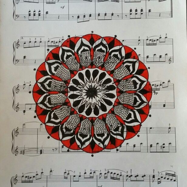 Mandala by Sharon Morgan of manifestingmandalas.com  Micron ink on sheet music