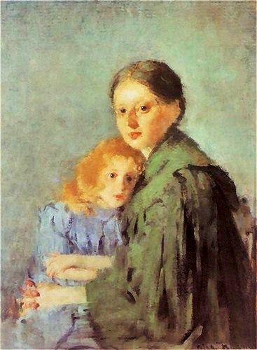 """""""Kobieta z dziewczynka"""" by Olga Boznanska (1893)"""