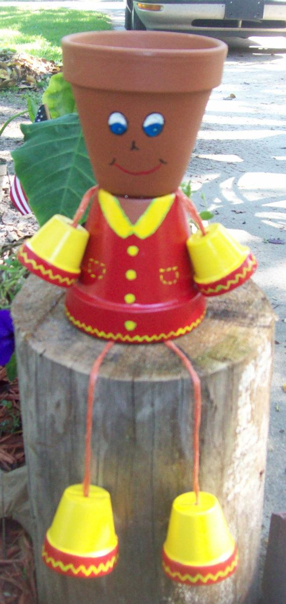 Terracotta clay flower pot people by paulinesclassicgifts for How to make clay pot people