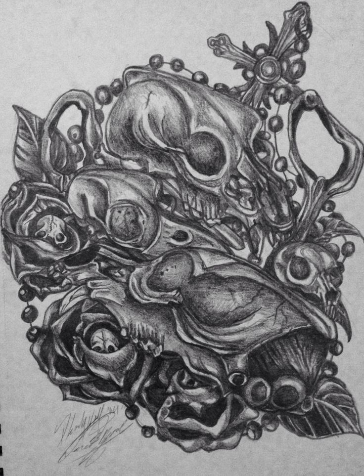 Pearls and bone - 6B graphite pencil on sketch paper. This ...