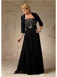 134.39 dresssea.com SUPPLIES Elegant A-line Floor-length Sash Beading Black  Mother of the Bride Dress