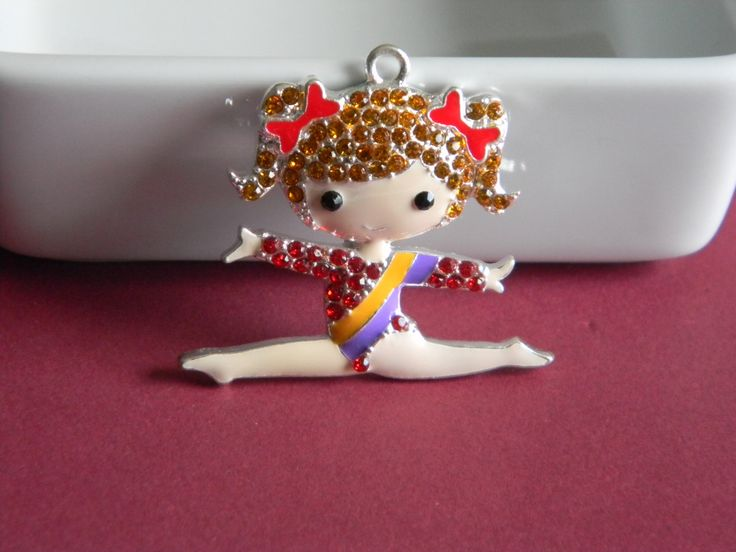 Gymnast Rhinestone Pendant Lt Brown Hair Necklace Key Chain Zipper Pull Jewelry Coach Gymnastics Team Red Leotard Pigtails and Red Hair Bows by HouseofHairDecor on Etsy
