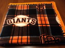 Mlb SF Giants Infant/Baby Plaid Fleece Blanket- crocheted edge-so nice