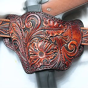 Tooled Leather Pancake 1911 Holster Left Hand by Serge Polevoi