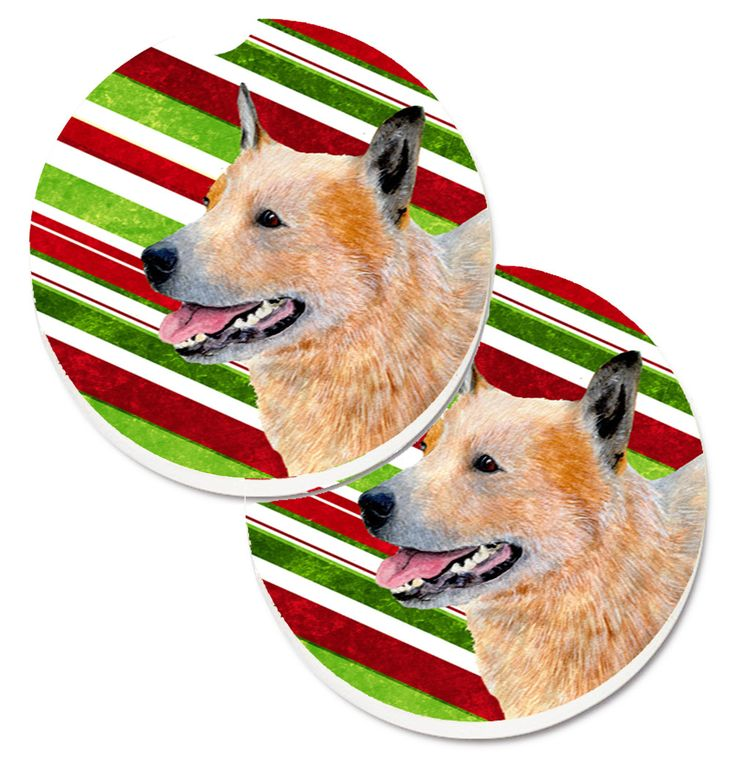 Australian Cattle Dog Candy Cane Holiday Christmas Set of 2 Cup Holder Car Coasters LH9227CARC