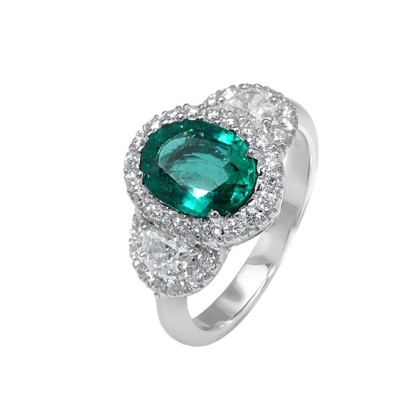 Emerald and Diamond Engagement Ring  BGRT21672016EJF