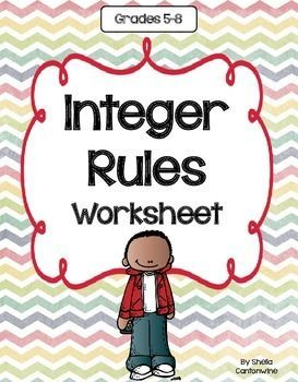 This is a one page worksheet on the Integer Rules.  The Integer Rules explain the way to add, subtract, multiply and divide with integers (positive and negative numbers).