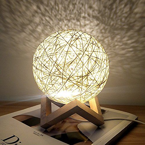 Romantic Night Light Creative Ins Wind Starry Table Lamp Bedroom Bedside Lamp Fantasy Rattan Ball Moon Light Light Yel Table Lamps For Bedroom Lamp Table Lamp