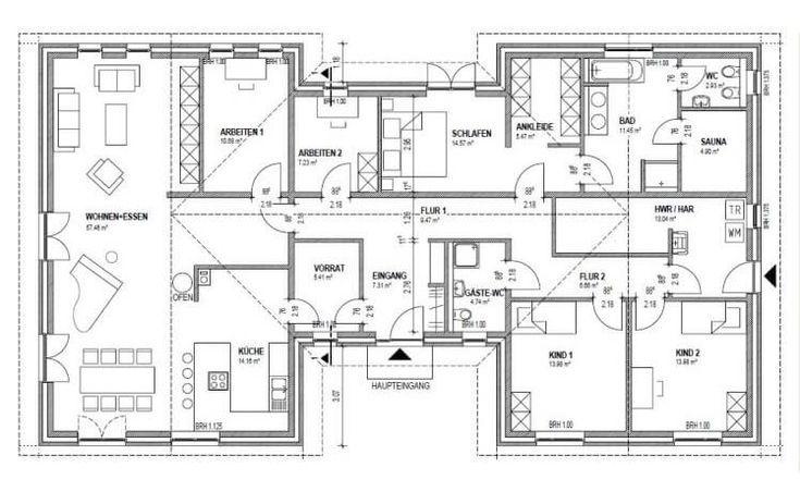 Dieser Bungalow Grundriss Mit Knapp 180 M Bietet Bungalow Floor Plans Bungalow Flooring Apartment Bedroom Design