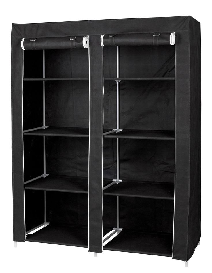 Large Portable Wardrobe Closet Organizer by Florida Brands - 8 Shelf Storage - Black Vinyl Fabric - Double Doors - Durable Metal Frame - Easy No Tool Assembly - 62 x 48 x 20