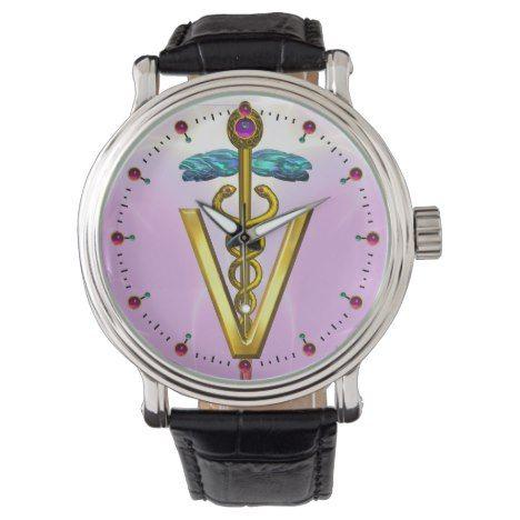 GOLDEN CADUCEUS VETERINARY SYMBOL / PinkLilac Wristwatch #fractal #pattern #accessories