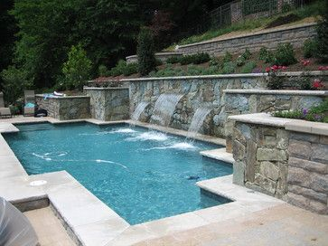 154 best images about pools on pinterest swimming pool for Pool design hillside