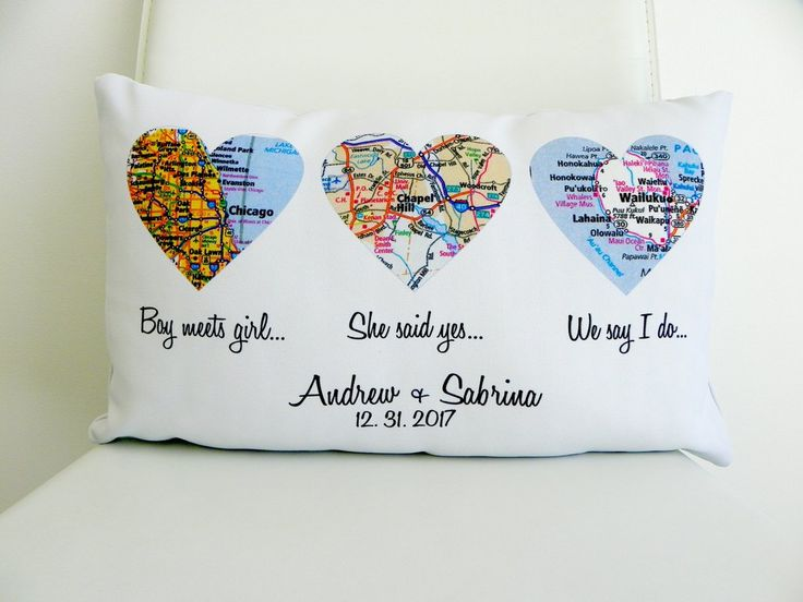 Heart Map Pillow Personalized Wedding Gift Map Heart The Story of Us Where It All Began Personalized Pillow
