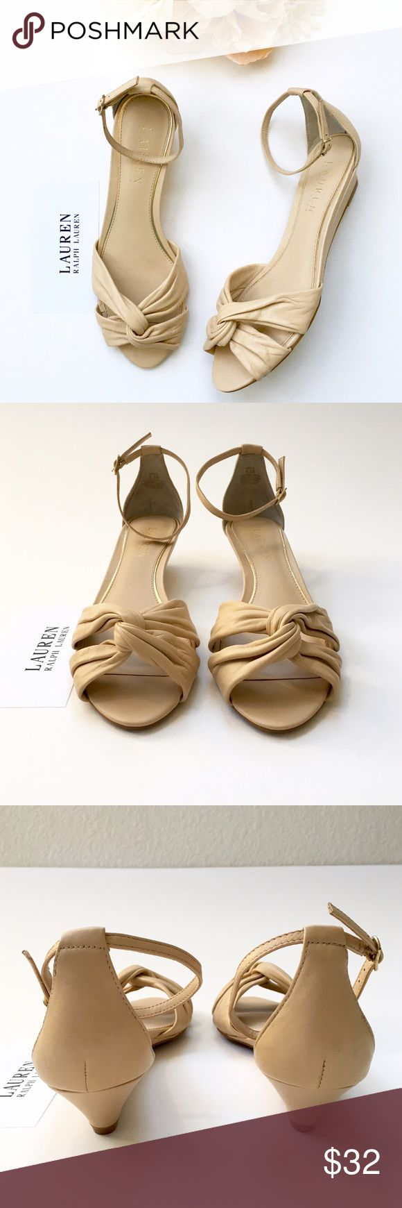 Lauren RL Mireya Leather Low Wedge Neutral Sandal Lauren Ralph Lauren. Size 6.5B. Leather. Color: warm cream...neutral, straw. Narrow ankle strap. Twist at toe. Heel: 1.5 inches, no platform. This shoe is used and in very good condition, worn once. Neutral. Natural. 100% leather. Comfortable. Feminine.❤️ Lauren Ralph Lauren Shoes Sandals