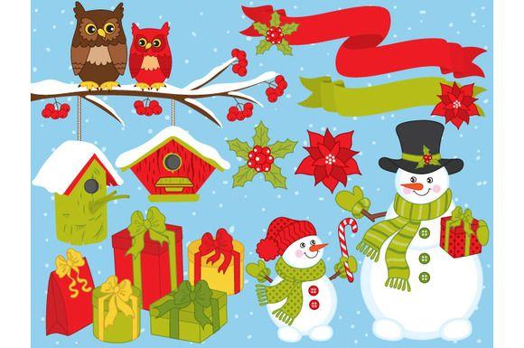 Vector Christmas Set with Snowmen by Tanita_B on @creativemarket