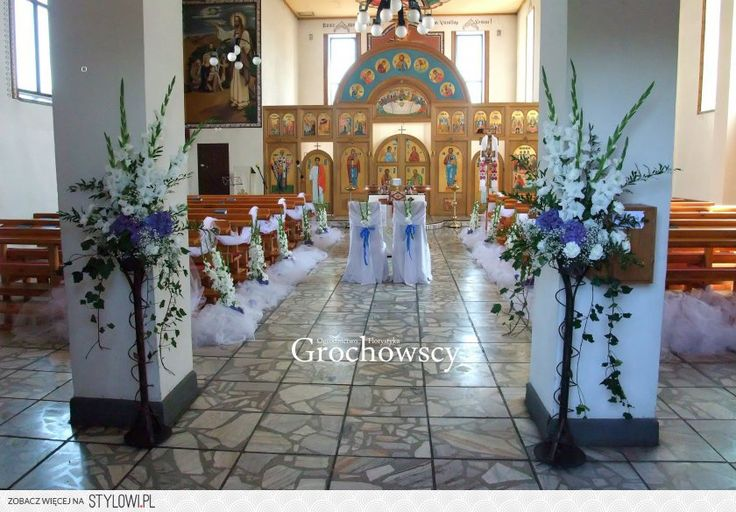 ślubna dekoracja cerkwi w Człuchowie dekoracja kościoła na ślub Człuchów dekoracje ławek