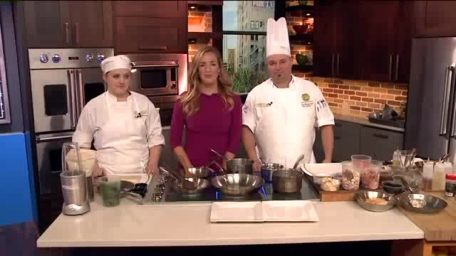 Chef Todd Leonard and student Michelle Stephenson from UVU Culinary Arts program prepared a special dish that will be prepared for the Student Chef of the Year contest in Reno, Nevada. Chicken Chas...