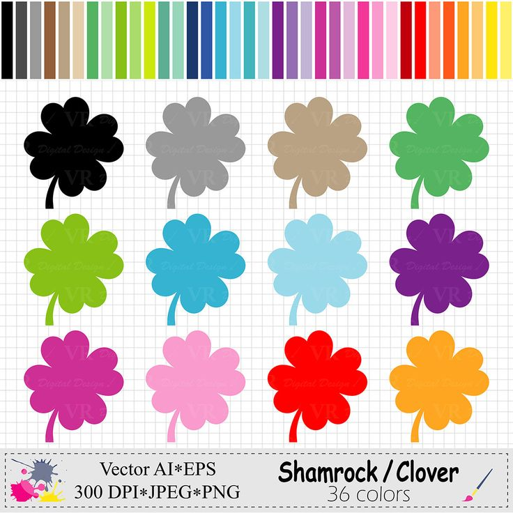 Rainbow Shamrock Clip Art, Colorful Clover Clipart, St Patricks Day Graphics, Planner Stickers Clipart, Digital Download Vector by VRDigitalDesign on Etsy