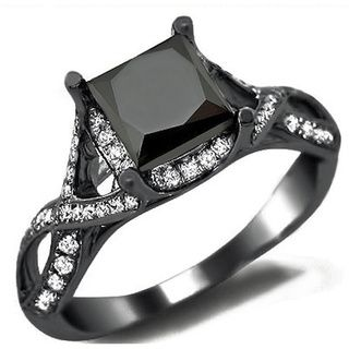 18K Black Gold 2.4ct TDW Black Diamond Princess Cut Diamond Ring