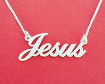 Jesus Necklace Silver Jesus Name Necklaces With Name Baptism Gift Jesus Pendant christian Jewelry Silver Jesus Nameplate Easter Gift