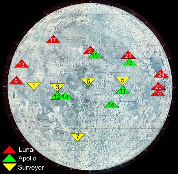 Mappa dei punti di atterraggio delle varie missioni lunari, Americane (Surveyor e Apollo) e Sovietiche (Luna)  / What we left on the moon