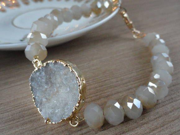 Pulseira Pedra Drusa | Lady Lou Semijoias | 362615 - Elo7