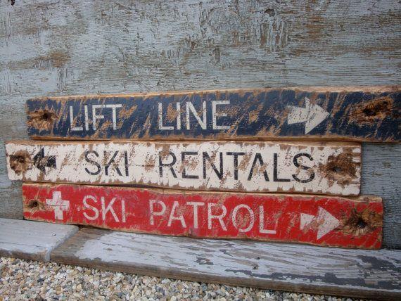Rustic Distressed Ski Patrol, Lift Line, Ski Rentals Directional Wood Cabin Lodge Sign Set on Etsy, $169.99