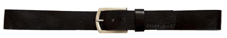 Gürtel  CROSS Jeans® Herren Echtleder Gürtel mit rechteckiger Metall-Schließe in Antik-Silber-Optik, Cross Prägung am Gürtelende, Gürtelbreite 4,5 cm, Kante unbehandelt, Vollbüffelleder, nickelfrei Material: 100 % Leder...