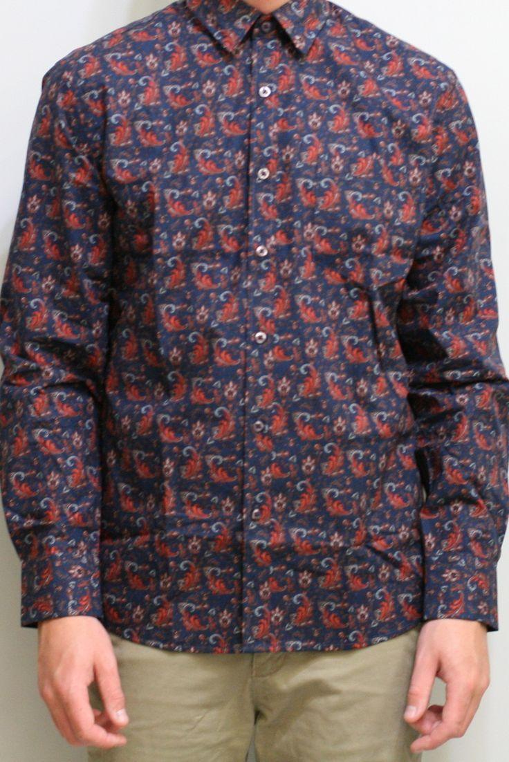 Paisley Print L/S Shirt - Navy/Stock