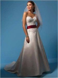 Nowa, Unikalna, Amerykańska Suknia Ślubna Firmy Alfred Angelo, Styl: 2093, Rozmiar 14 (USA), Kolor: Gold (Złoto)/Claret (Wino)