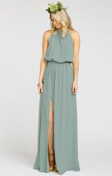 Heather Halter Dress ~ Silver Sage Crisp | Show Me Your MuMu