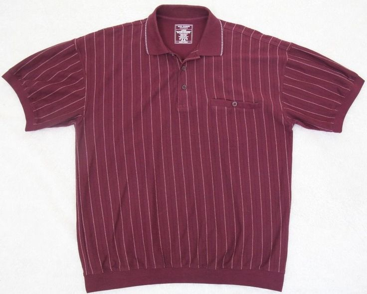 Safe Harbor Pocket Polo Shirt Burgundy Red Mens Choice Cotton Polyester Large  #SafeHarbor #PoloRugby