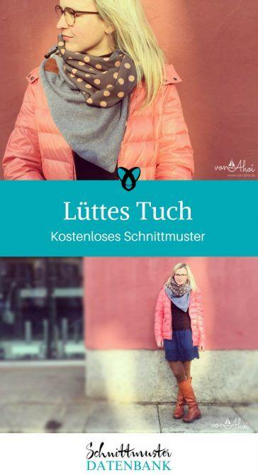 Wickelschal Schnittmuster kostenlos gratis Anleitung Lüttes Tuch Schal zum Wickeln Halstuch nähen Freebook für Männer Frauen Erwachsene Geschenkidee Weihnachten