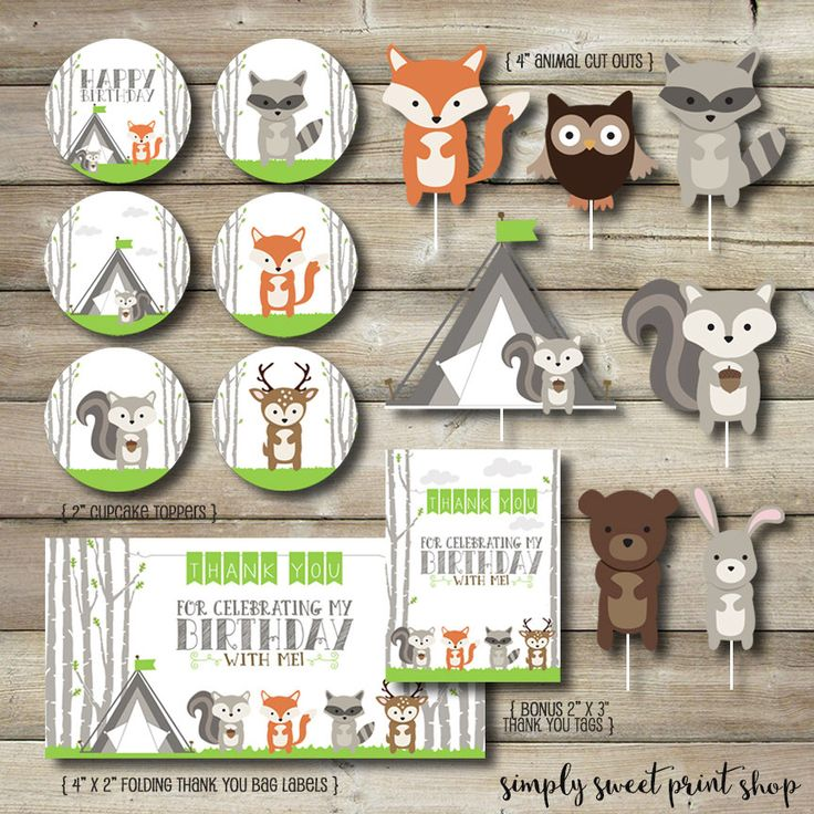 Woodland Animal Printable Party Package Cupcake Toppers Animal Cut Outs S'more Bag Label Tags Tree Tent Fox Raccoon Deer Owl Bear Squirrel by SimplySweetPrintShop on Etsy https://www.etsy.com/listing/229361715/woodland-animal-printable-party-package