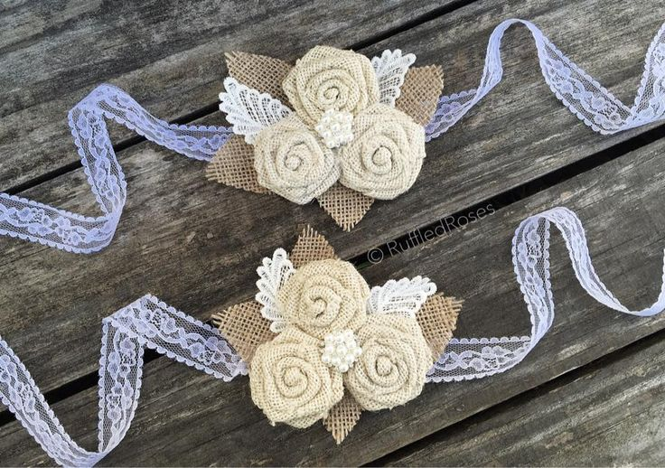 Custom Ordered Bridal Corsages  Burlap & lace Custom bridal corsages start at $18 & up based on style and detail.