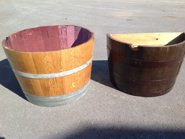 Whiskey and Wine Half and Quarter Barrel planters By RKD Floral Displays