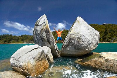 """Split Apple Rock, New Zealand -- Known as Toko Ngawha by locals (which means """"burst open rock""""), the rock appears to be an anomaly."""