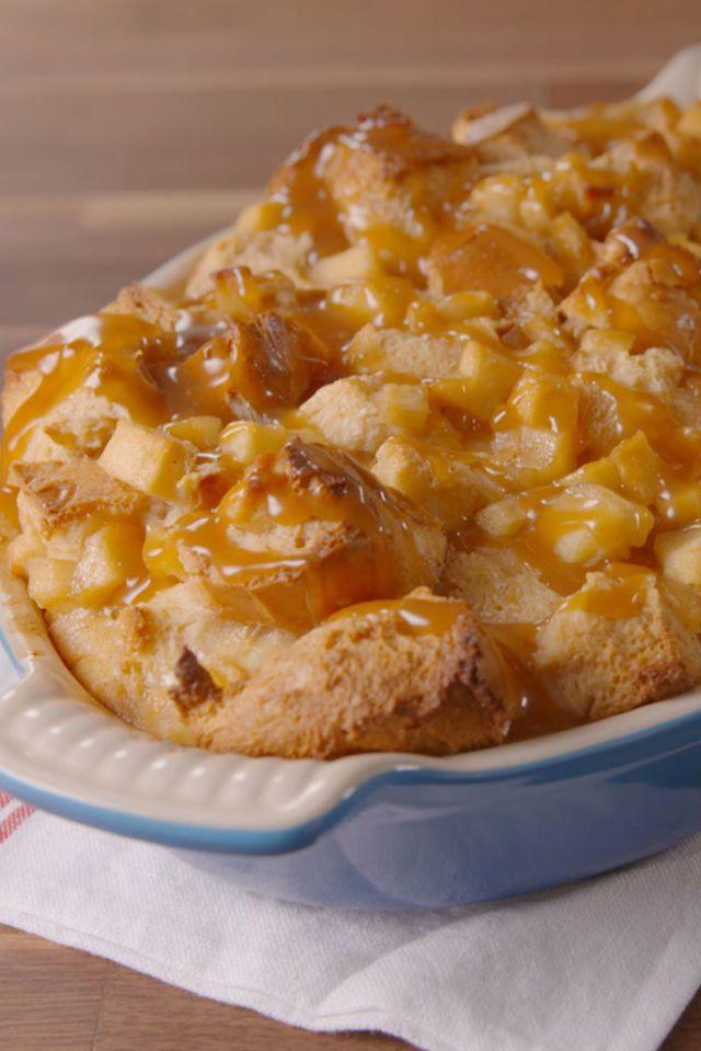 Caramel Apple Bread Pudding  - Delish.com