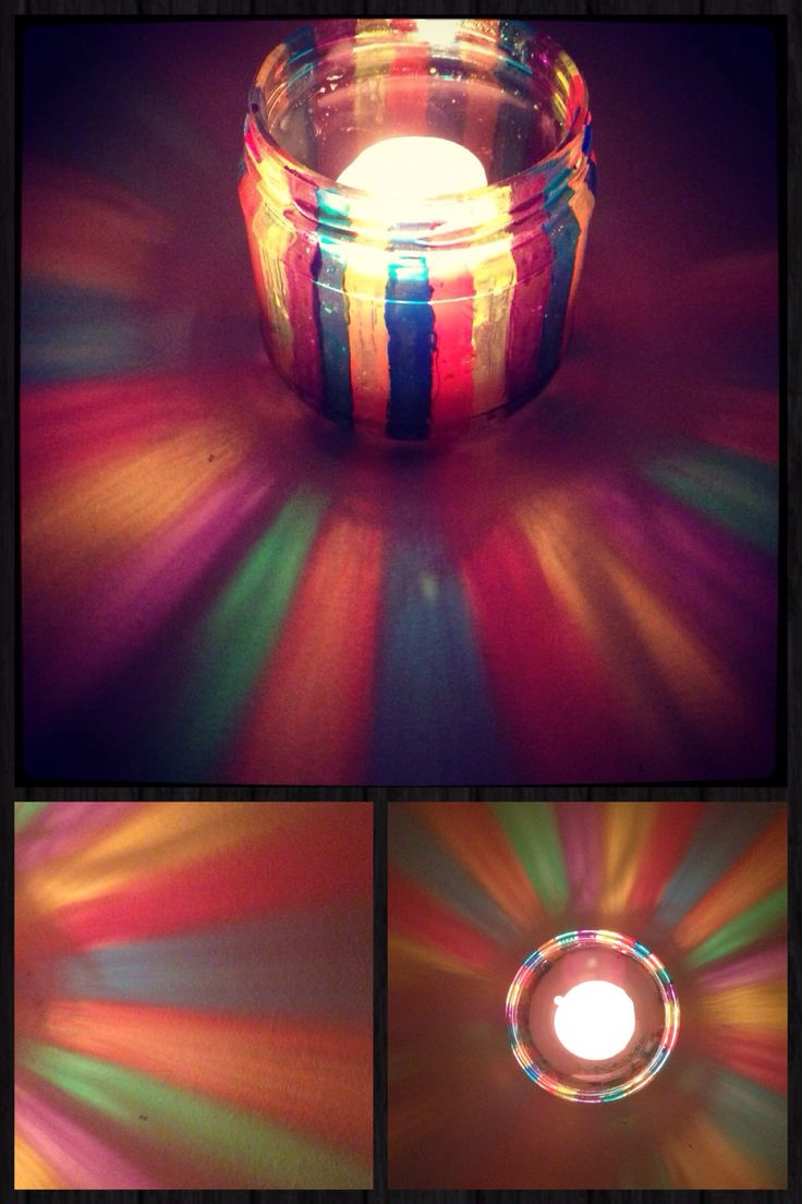 Candle holder DIY Craft. Made from old Doritios dip jar and glass paints. Rainbow arts.
