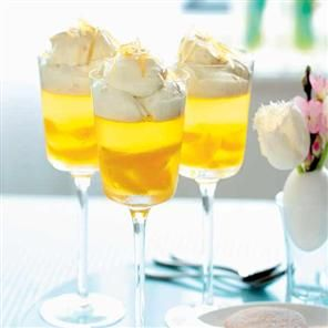 Orange-scented wine jellies with ginger syllabub cream - use Bulletin Place Pinot Grigio