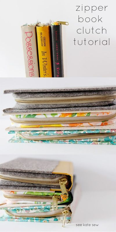 Upcycled Zippered Book Clutch – Free Sewing Tutorial by See Kate Sew + Upcycled Sewing Projects by Betz White