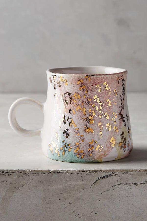 Anthropologie Gold Accent Mug