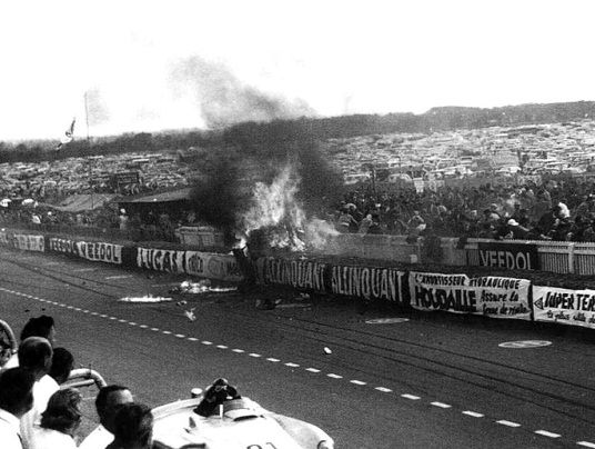 Le Mans 1955 Disaster - The 1955 Le Mans disaster occurred during the 24 Hours of Le Mans motor race in Le Mans, France, on 11 June 1955, when a major crash caused large fragments of debris to fly into the crowd. Eighty-three spectators and French driver Pierre Bouillin, who raced under the name Pierre Levegh, were killed and nearly 180 more sustained injuries in the most catastrophic accident in motorsport history which led Mercedes-Benz to retire from motor racing until 1989.