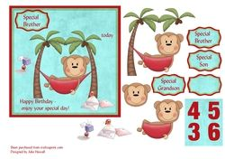 Cheeky monkey birthday card with decoupage  relatives   ages on Craftsuprint - View Now!